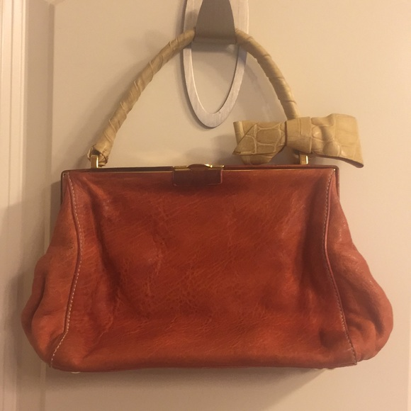 Miu Miu Bags   Vintage Orange Yellow Leather Handbag   Poshmark f93a12c133